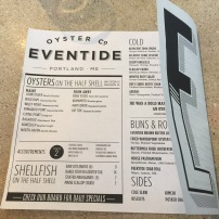 Eventide Oyster Co. Menu
